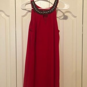 BCX Red Jeweled Collar Dress